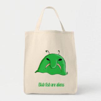 Alien blobfish grocery tote bag