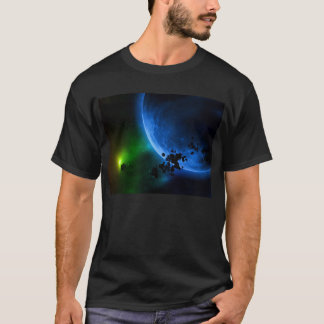 Alien Blue Planets & Asteroids T-Shirt