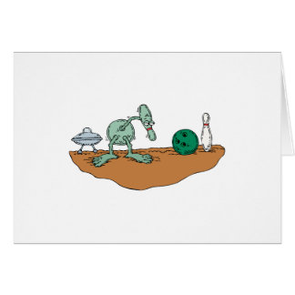 Alien Bowling Lover Greeting Card