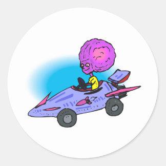 Alien Boy Dricing Racecar Stickers