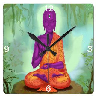 Alien Buddha Meditation wall clock