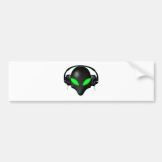 Alien Bug Face Green Eyes in DJ Headphones Bumper Sticker