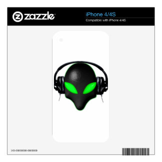 Alien Bug Face Green Eyes in DJ Headphones Decal For iPhone 4S