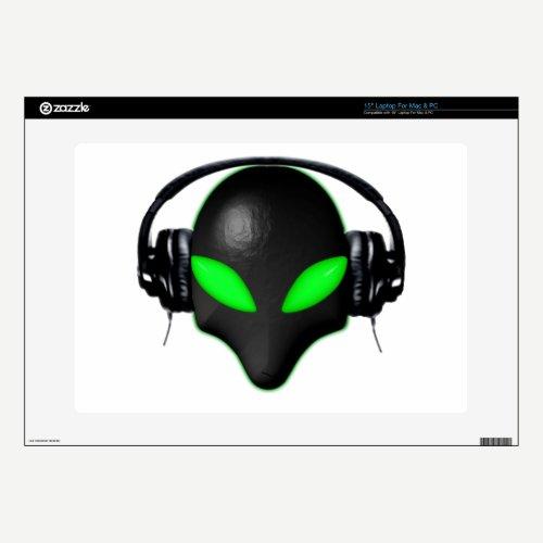 Alien Bug Face Green Eyes in DJ Headphones Laptop Decals