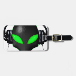Alien Bug Face Green Eyes in DJ Headphones Tag For Bags