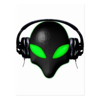 Alien Bug Face Green Eyes in DJ Headphones Postcard