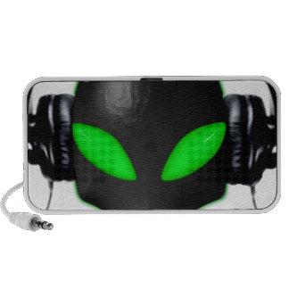 Alien Bug Face Green Eyes in DJ Headphones Mini Speakers