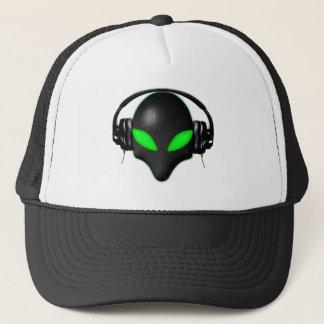 Alien Bug Face Green Eyes in DJ Headphones Trucker Hat
