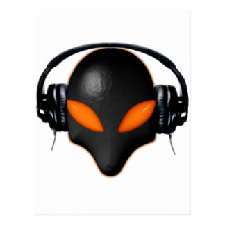 Alien Bug Face Orange Eyes in DJ Headphones Postcard