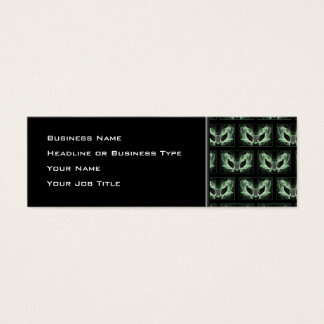 Alien Cat. Fantasy Art Pattern. Green Black. Mini Business Card