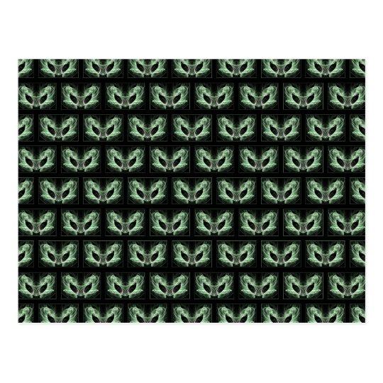 Alien Cat. Fantasy Art Pattern. Green Black. Postcard
