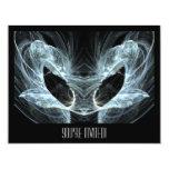 Alien Cat. Mystical Fantasy Art Fractal. 4.25x5.5 Paper Invitation Card