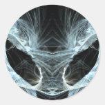 Alien Cat. Mystical Fantasy Art Fractal. Round Sticker