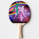 Alien cat - rainbow cat - space cat Ping-Pong paddle