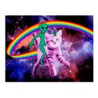 Alien cat - rainbow cat - space cat postcard