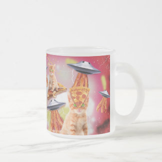 alien cats and the ufos frosted glass coffee mug