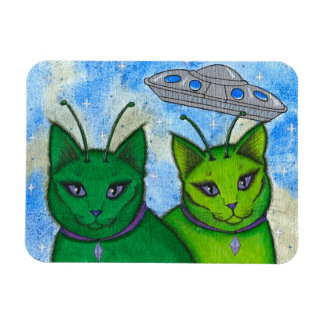 Alien Cats UFO Space Fantasy Cat Art Magnet