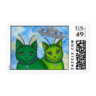 Alien Cats UFO Space Fantasy Cat Art Postage