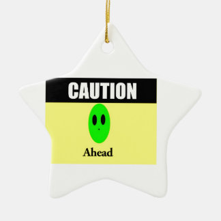Alien Caution Ceramic Ornament