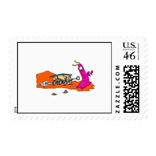 Alien chased by rover postage