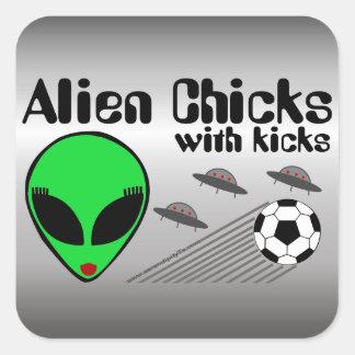 Alien Chicks Square Sticker