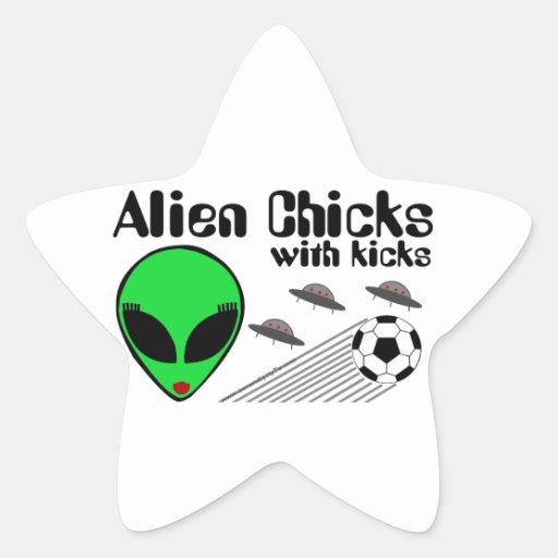 Alien Chicks Star Stickers
