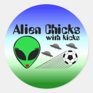 Alien Chicks with Kicks Classic Round Sticker