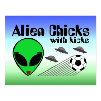 Alien Chicks with Kicks Postcard