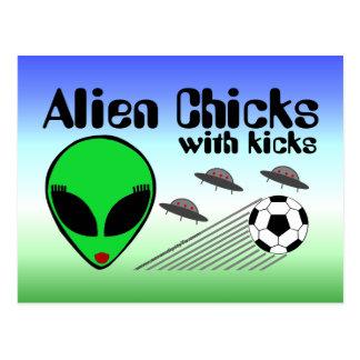 Alien Chicks with Kicks Post Card
