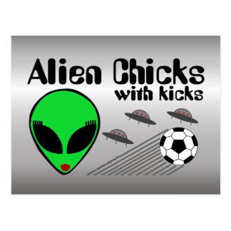 Alien Chicks with Kicks Postcard