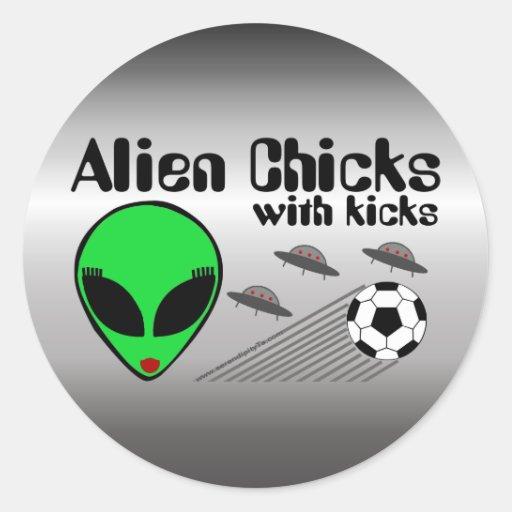 Alien Chicks with Kicks Round Sticker