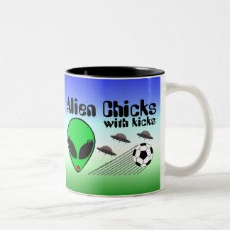 Alien Chicks with Kicks Two-Tone Coffee Mug