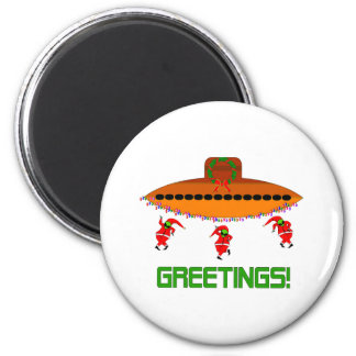 Alien Christmas 2 Inch Round Magnet