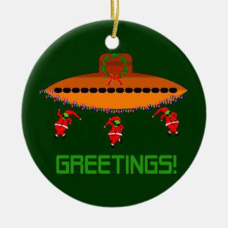 Alien Christmas Ceramic Ornament