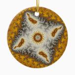 Alien Christmas Fractal Ceramic Ornament