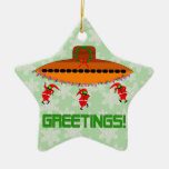 Alien Christmas Double-Sided Star Ceramic Christmas Ornament