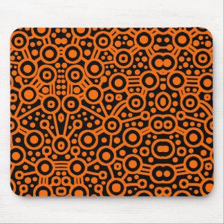 Alien Circuit II - Orange on Black Mouse Pad