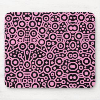 Alien Circuit II - Pink on Black Mouse Pad