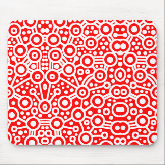 Alien Circuit II - Red and White Mouse Pad