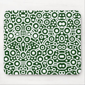 Alien Circuit II - White and Dark Green Mouse Pad