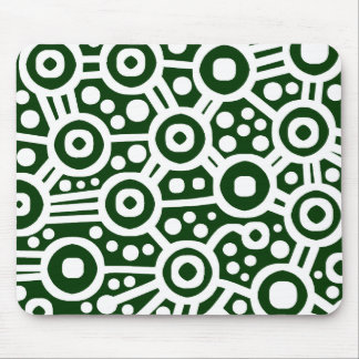 Alien Circuit - White on Dark Green Mouse Pad