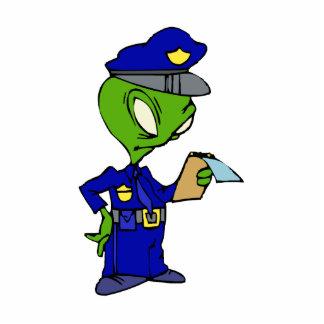 Alien Cop Writing a Ticket Standing Photo Sculpture