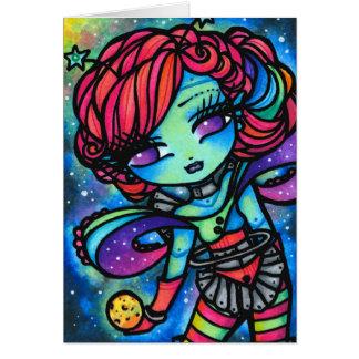 Alien Cosmic Planet Star Rainbow Galaxy Fantasy Greeting Card