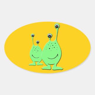 Alien Couple - Cute Cartoon Characters Oval Sticker