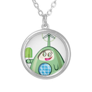 Alien Creature with Ice Cream Silver Plated Necklace