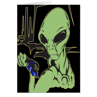 Alien Cries Over Dead Bird Card