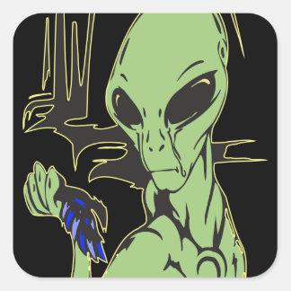 Alien Cries Over Dead Bird Square Sticker