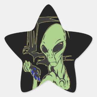 Alien Cries Over Dead Bird Star Sticker