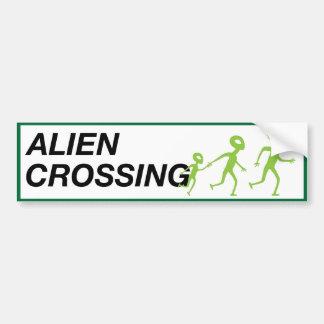 ALIEN CROSSING BUMPER STICKER