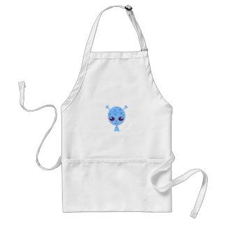 Alien cute design on blue adult apron